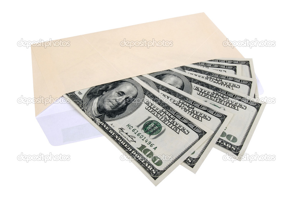 Hundred dollar bills in an envelope, isolated on white background — Stock Photo #3441362