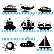 Icons boat — Stock Vector