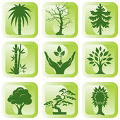 Icons trees — Stock Vector