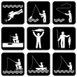 Fishing icons — Stock Vector