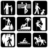 Iconos de ocio activo — Vector de stock