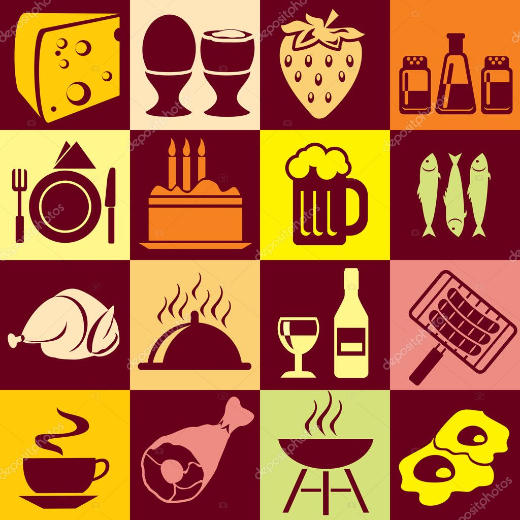 Seamless vector background with colorful symbols of food and beverages. Alternation of light and dark cells — Imagens vectoriais em stock #2829282