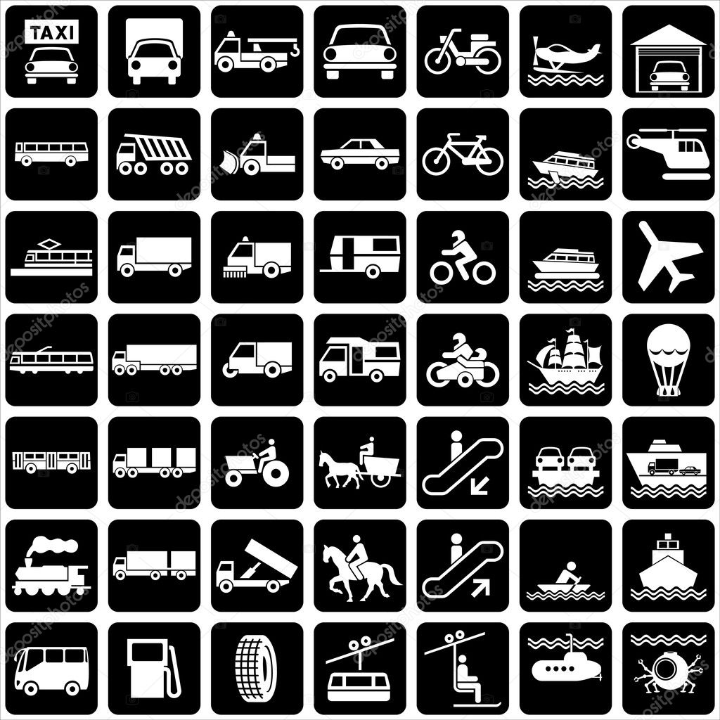 Set of vector silhouette of icons with various symbols transports — Stock Vector #2829285