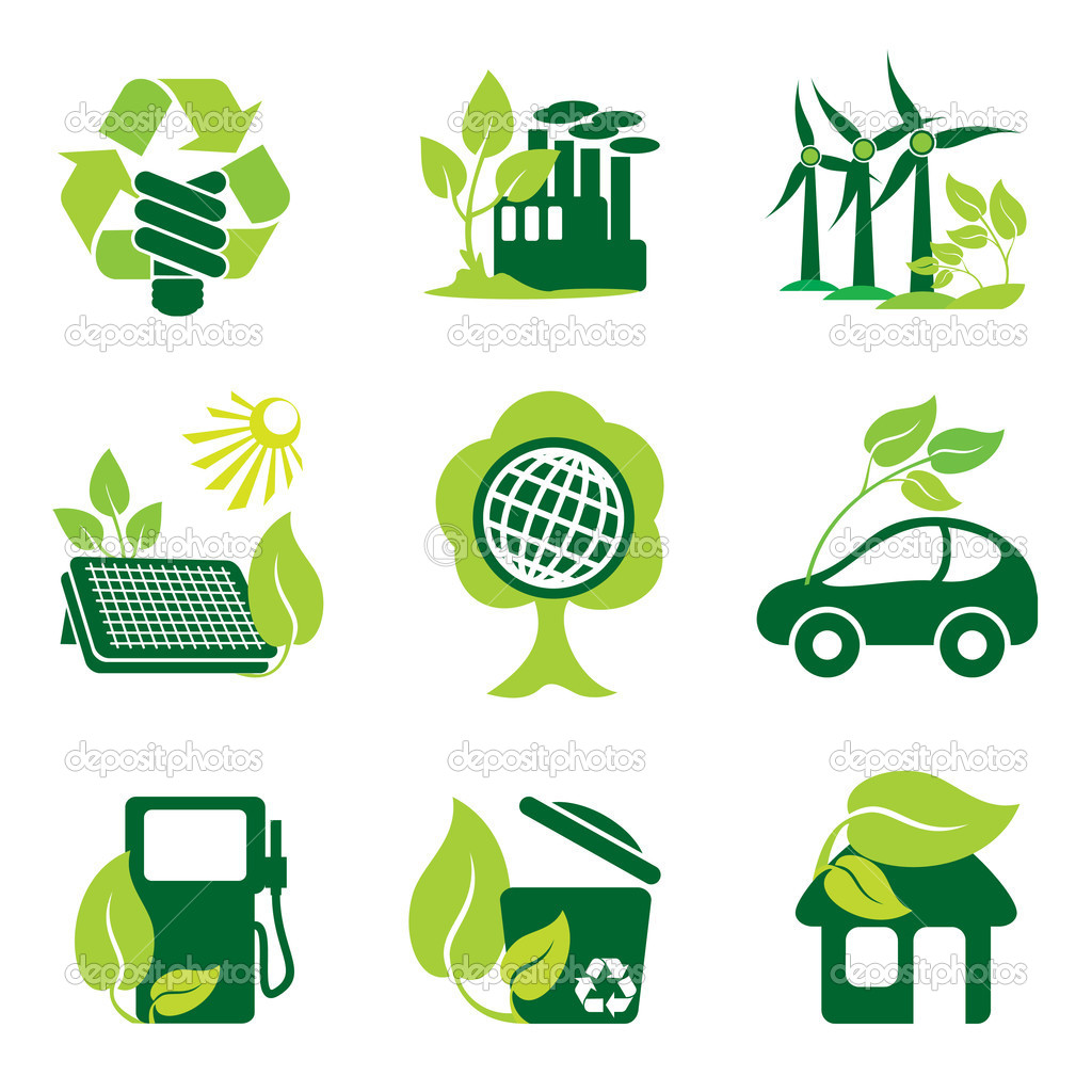 Set of vector icons of environment protection and renewable sources of power — Stock Vector #2840716
