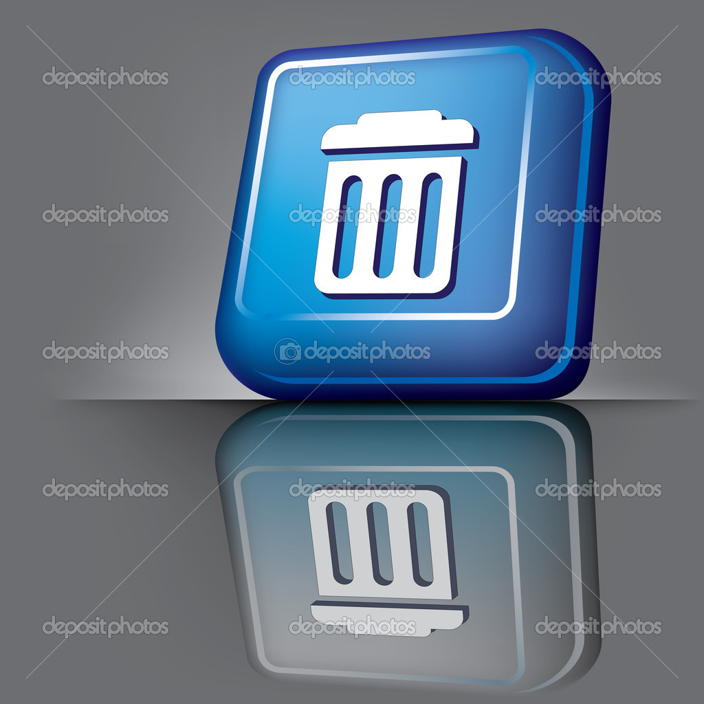 Vector image volumetric computer button with the symbol of ftrash  Stock Vector #2890491