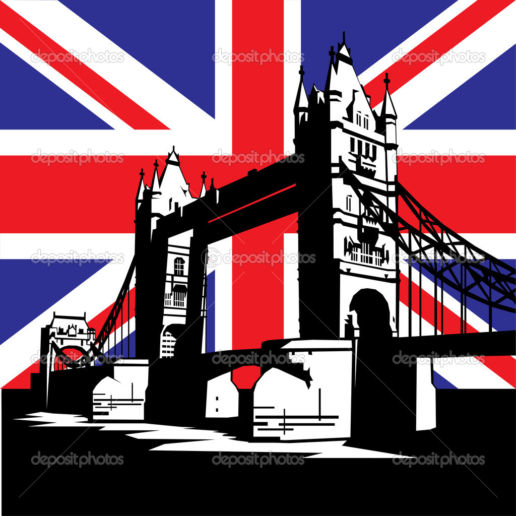 Vector image of British and london symbols. Famous London Bridge on the background of the British flag — Stock Vector #3118315