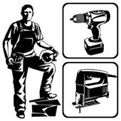 Worker and tools — Vector de stock