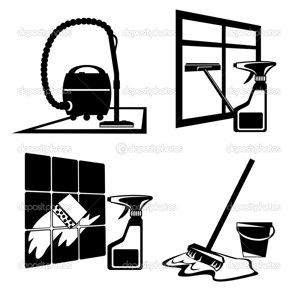 Set of vector silhouette icons of black cleaning, washing and maintenance of cleanliness — Stock Vector #3418244