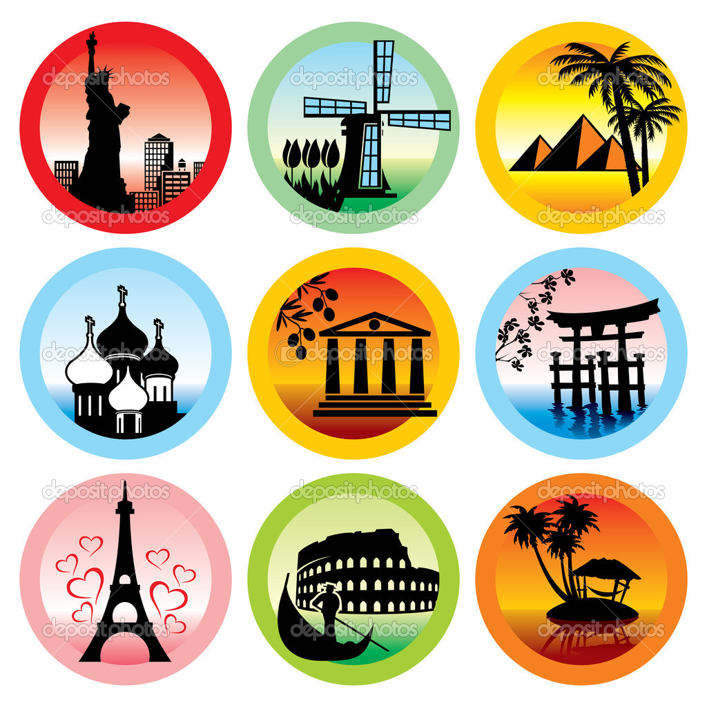 Set of vector icons for travel to various countries  Stock Vector #3568746