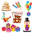 Set birthday icons - Vettoriali Stock