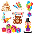 Stock Vector: Set birthday icons