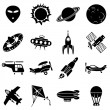 Air and space icons - Stock Vector