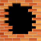 Hole in brick wall — Stock Vector