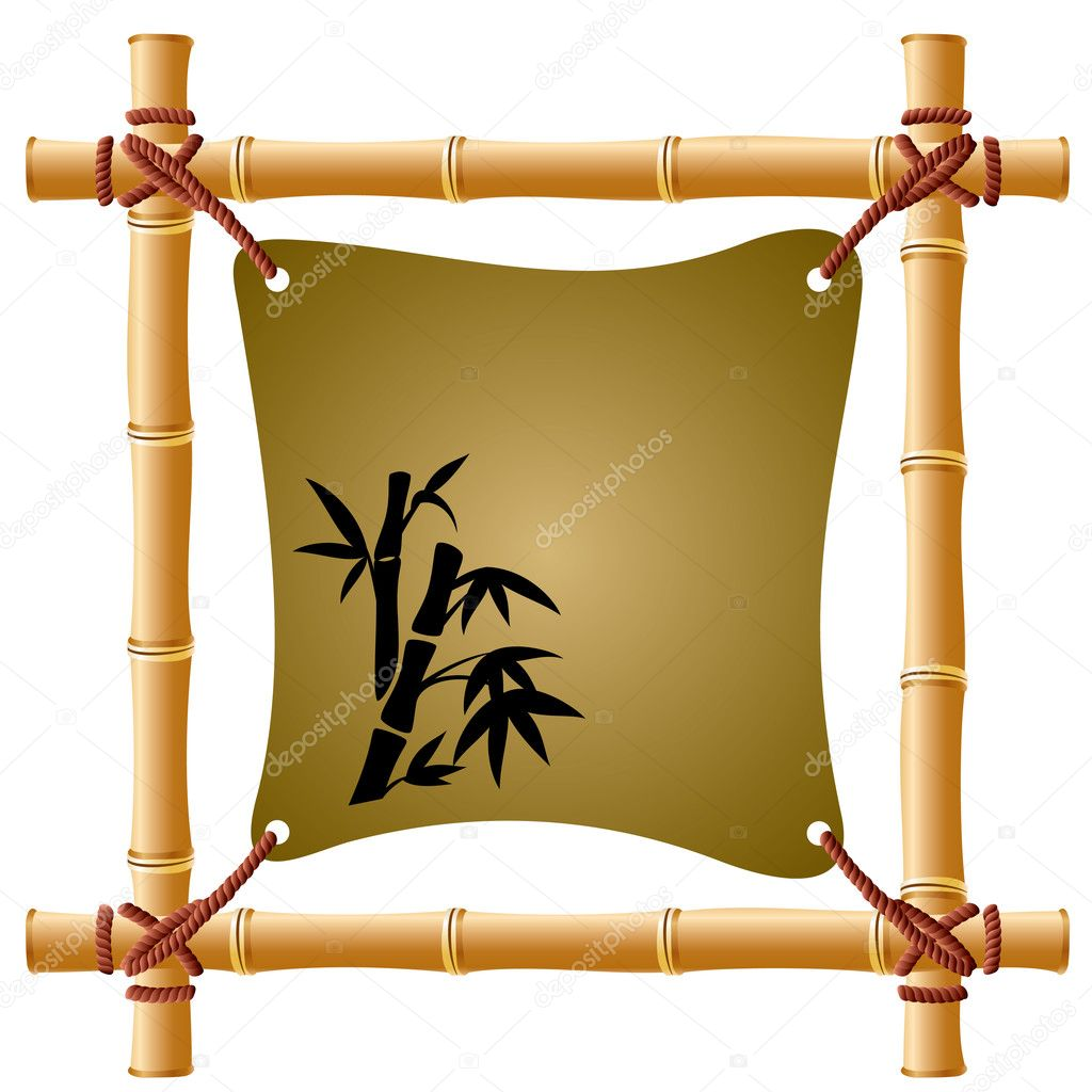 Vector image of a bamboo frame with a taut sheet of paper — Stock Vector #3878236
