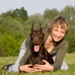 Woman and dog — Stock Photo #3138489