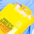 Container for used medical syringes - Stock Photo