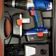 Cordless hammer drill kit in black case — Stock Photo #3125042