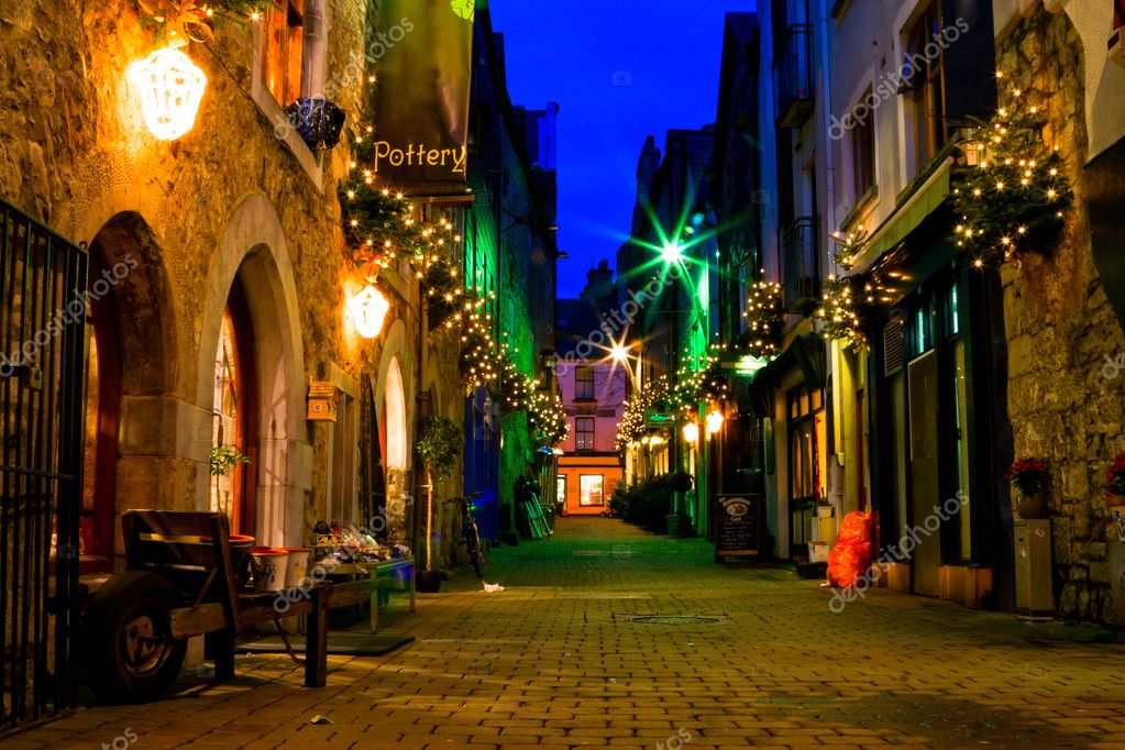 Old galway city street at night stock image