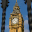 Big Ben throgh the forged grille - Stock Photo
