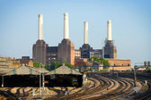 Railway and power station — Stock Photo