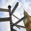 Signpost pole with directions and Big Ben - Stock Photo