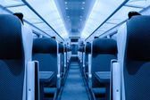 Railway coach interior, monochromatic — Stock Photo
