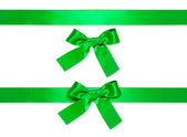 Green multiple ribbons with bow, isolated — Stock Photo