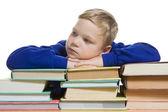 小男孩用手在孤立的书 — 图库照片