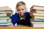 Schoolboy stinking at the desk — Stock Photo