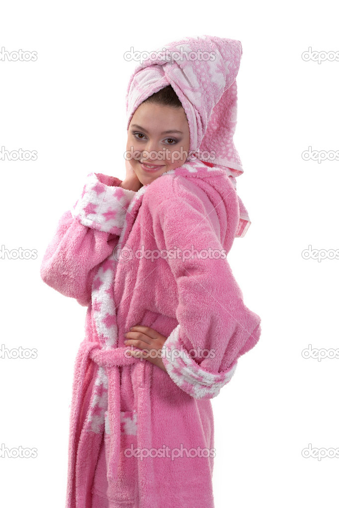 Girl in a pink long dressing gown on a white background — Stock Photo #2824704
