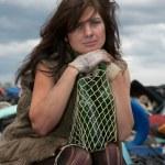 Homeless girl. — Stock Photo