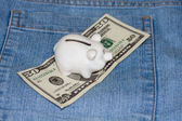 Piggy bank with american currency — Stock Photo