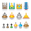 Religious Temples and Worship Places — Stock Vector