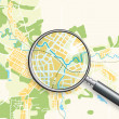 Map of the City and A Loupe - Stock Vector