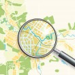 Map of the City and A Loupe — Stock Vector