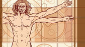 The Vitruvian man (Fragment) — Stock Vector
