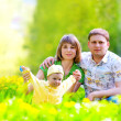 Foto Stock: Family in the grass