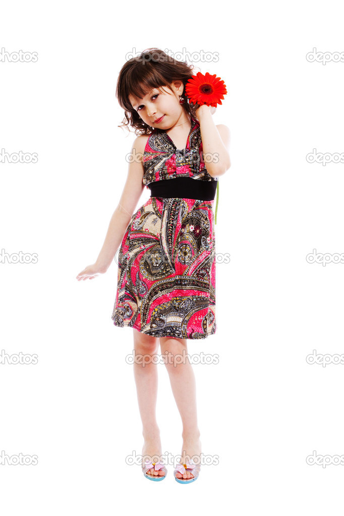 Portrait of little girl with red flower — Stock Photo #3914051