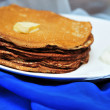 Pile of tasty pancakes in soft focus — Stock Photo