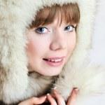 In fur hat — Stock Photo