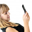 Girl typing sms — Stock Photo