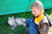 Little boy stroking a cat — Stock Photo