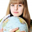 Girl and globe of the world — Stock Photo