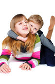Brother and sister having fun — Stock Photo