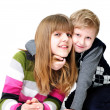 Hugging brother and sister — Stock Photo