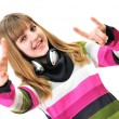 Teen girl rock out over the white — Stock Photo