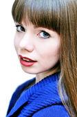 Face of blue-eyed girl — Stock Photo