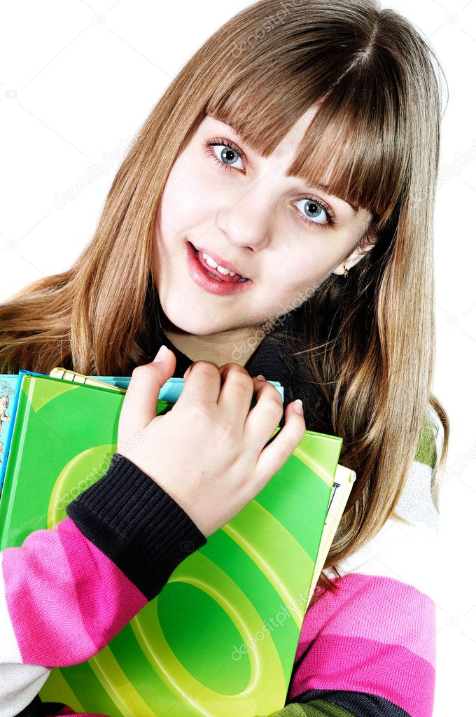 Teen funny smiling girl with books over the white — Stock Photo #2940111