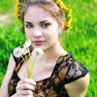 Girl with dandelions — Stock Photo #3817694