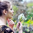 Blowing girl — Stock Photo